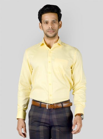 Light Yellow Dobby Regular Fit Formal Shirt | JadeBlue