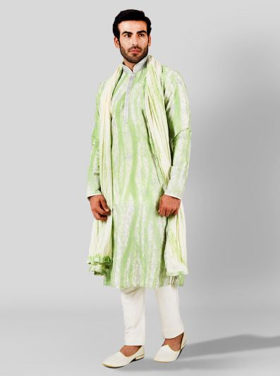 Green & Cream Kurta Set | Azania