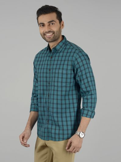 Grass Green Checked Slim Fit Casual Shirt | Greenfibre
