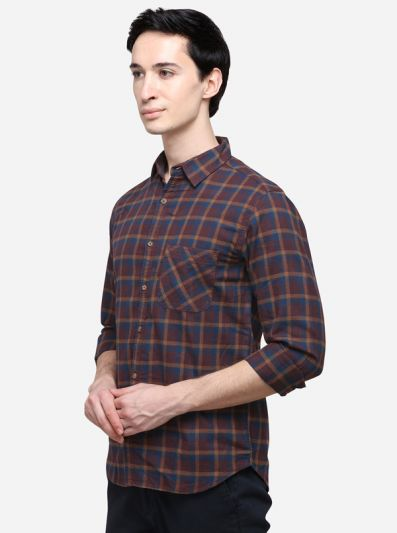 Brown Slim Fit Checked Casual Shirt | Greenfibre