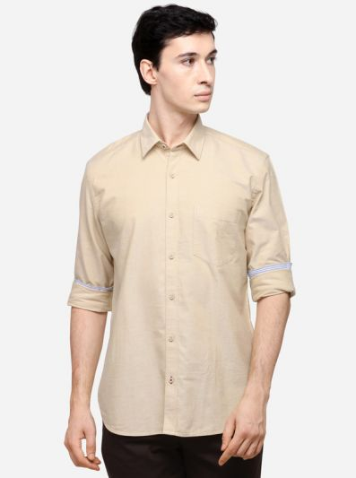 Cream Solid Slim Fit Casual Shirt | JB Sport