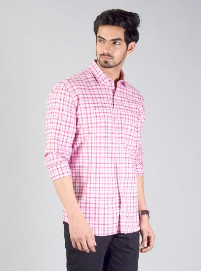 Raspberry Pink Checked Slim Fit Casual Shirt | JadeBlue