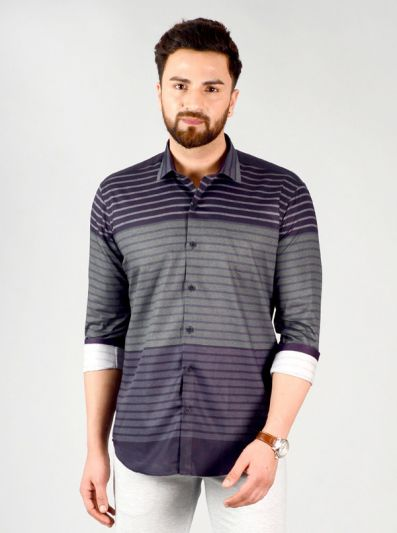 Dark Grey & Green Striped Slim Fit Party Wear Shirt | JB Studio