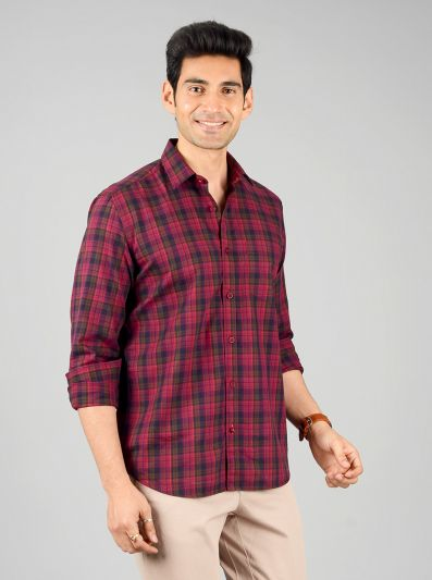 Jester Red Checked Slim Fit Casual Shirt | JB Sport