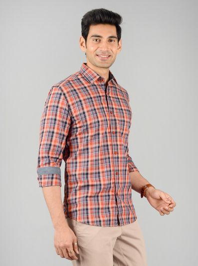 Apricot Orange Checked Slim Fit Casual Shirt | JB Sport