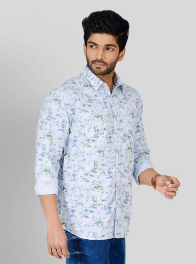 Water Blue Printed Slim Fit Casual Shirt | JB Sport