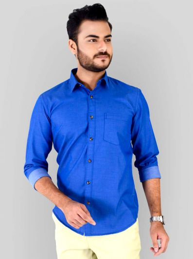 Electric Blue Solid Slim Fit Casual Shirt | JB Sport