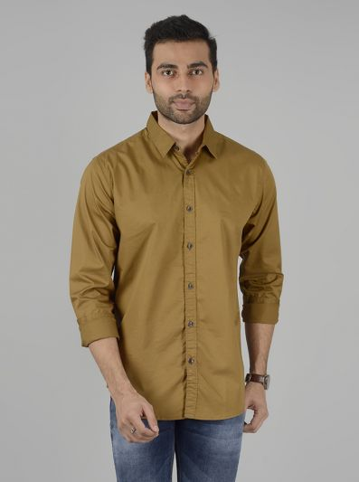 Khaki Solid Slim Fit Casual Shirt | JB Sport