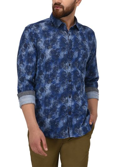 JB Sport Indigo Blue Printed Slim Fit Casual Shirt