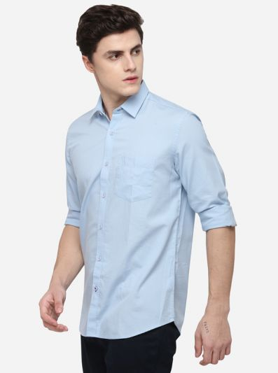Light Blue Smart Fit Solid Casual Shirt | Greenfibre