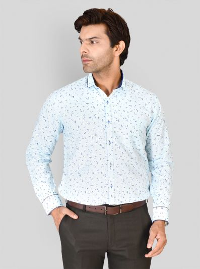 Sky Blue Printed Slim Fit Party Wear Shirt | Greenfibre