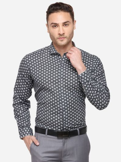 Grey & White Printed Slim Fit Party Wear Shirt | JB Studio