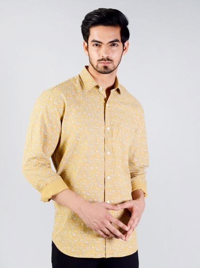 Ochre Yellow Printed Slim Fit Casual Shirt | JadeBlue
