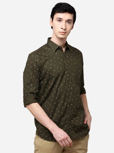 Olive Tailored Fit Printed Casual Shirt | JadeBlue
