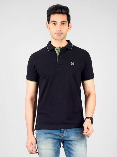 Black Solid Slim Fit Polo T-shirt | Greenfibre