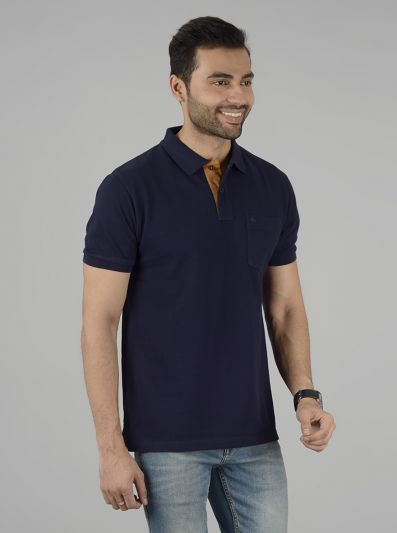 Navy Blue Solid Slim Fit Polo T-Shirt | Greenfibre