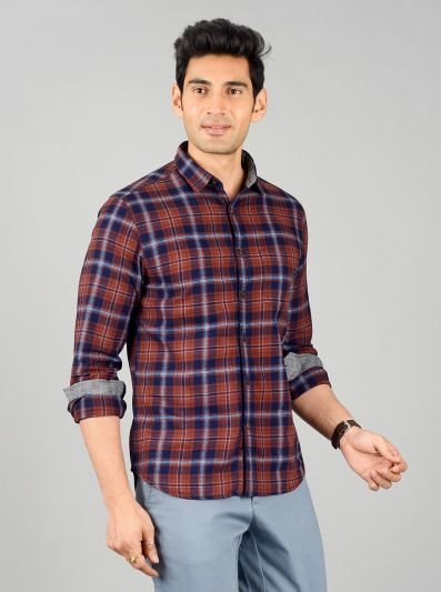 Brown & Blue Checked Slim Fit Casual Shirt | Greenfibre