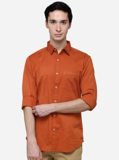 Rust Solid Slim Fit Casual Shirt | JB Sport