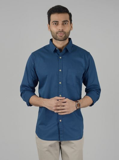 True Blue Solid Slim Fit Casual Shirt | JadeBlue