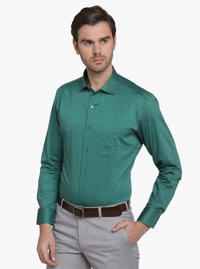Pine Green Solid Slim Fit Formal Shirt  | Metal