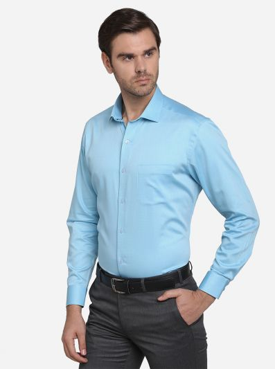 Sky Blue Dobby Slim Fit Formal Shirt | Metal