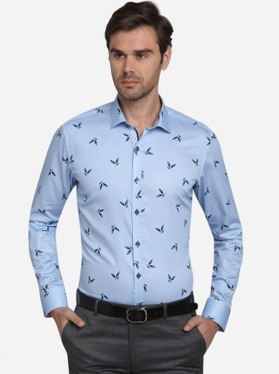 Sky Blue Printed Slim Fit Party Wear Shirt  | JB Studio