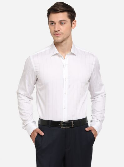 White & Silver Striped Slim Fit Party Wear Shirt | JB Studio