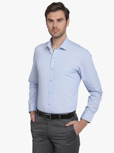 Sky Blue Checked Regular Fit Formal Shirt  | Greenfibre