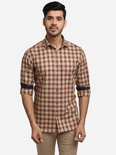 Beige & Red Checked Slim Fit Formal Shirt | Greenfibre