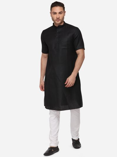Black Self Textured Regular Fit Modi Kurta | JadeBlue