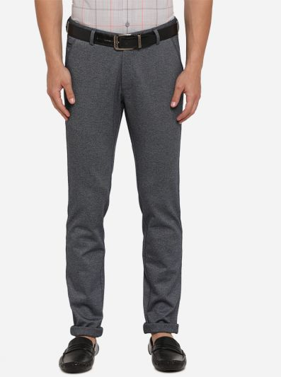 Dark Grey Solid Venice Fit Casual Trouser | JadeBlue Sport