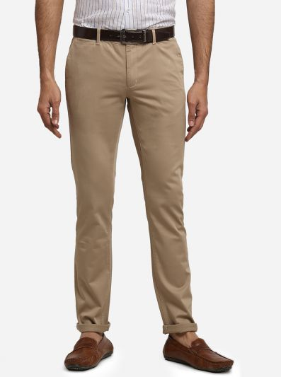 Khaki Solid Super Slim Fit Casual Trouser | Greenfibre