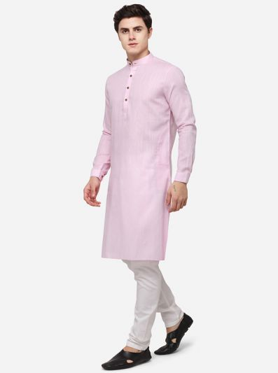Light Pink Self Textured Regular Fit Modi Kurta | JadeBlue