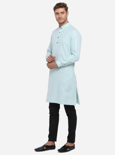 Light Blue Self Design Regular Fit Modi Kurta | JadeBlue