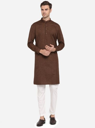 Coffee Brown Self Design Regular Fit Modi Kurta | JadeBlue