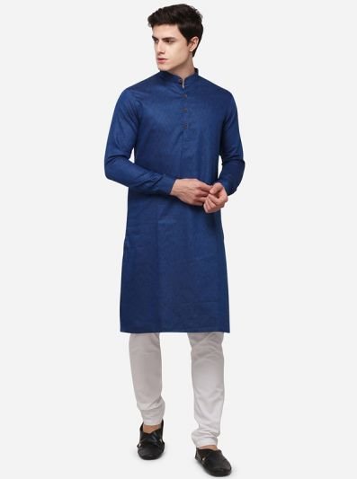Dark Blue Self Textured Regular Fit Modi Kurta | JadeBlue