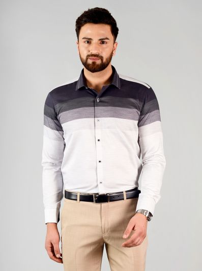 Purple Striped Slim Fit Party Wear Shirt | JB Studio