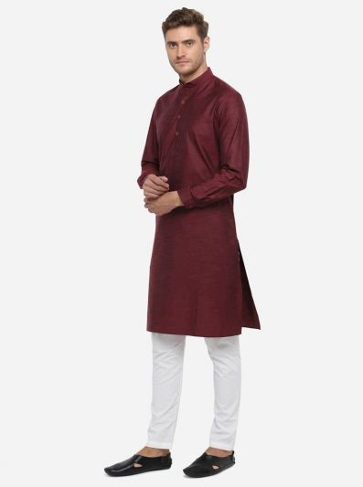 Maroon Self Design Regular Fit Modi Kurta | JadeBlue