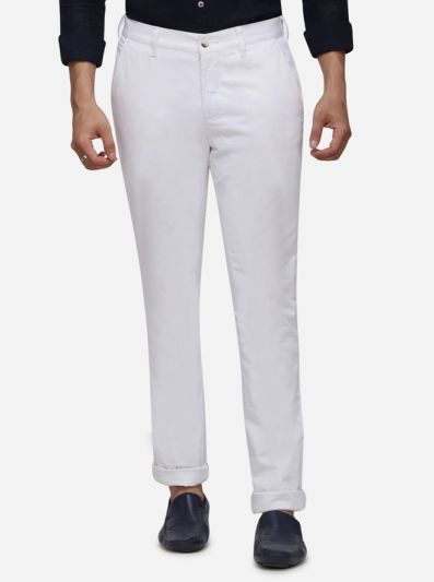 White Solid Super Slim Fit Casual Trouser | Greenfibre