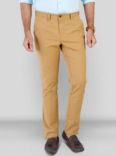 Khaki Solid Slim Fit Chinos | JB Sport