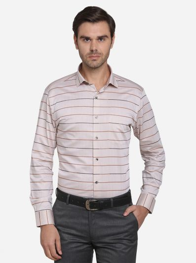 Beige & Brown Striped Slim Fit Formal Shirt | Metal