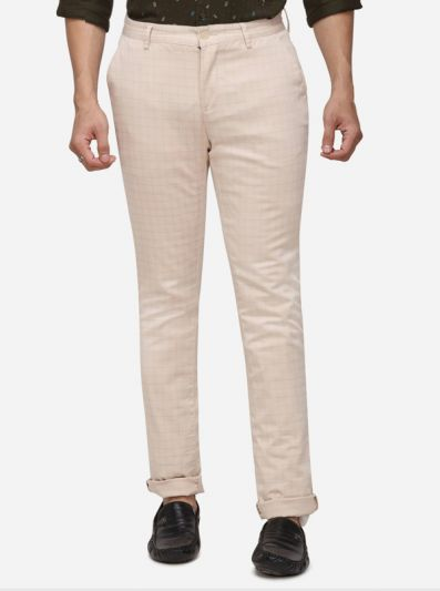 Cream Checked Super Slim Fit Casaul Trouser | Greenfibre