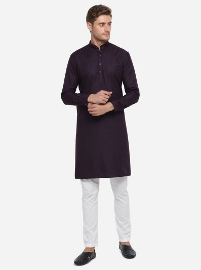 Deep Purple Self Design Regular Fit Modi Kurta | JadeBlue