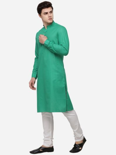 Green Self Textured Regular Fit Modi Kurta | JadeBlue