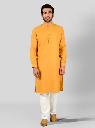 Golden Yellow Self Textured Regular Fit Modi Kurta | JadeBlue