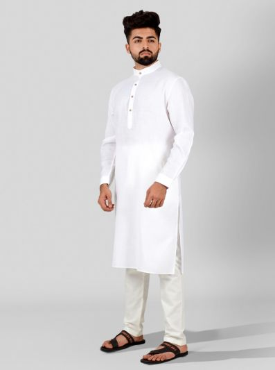 White Self Textured Regular Fit Modi Kurta | JadeBlue