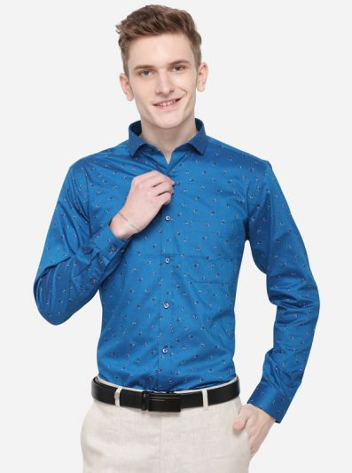 Turquoise Blue Printed Slim Fit Party Wear Shirt | Greenfibre