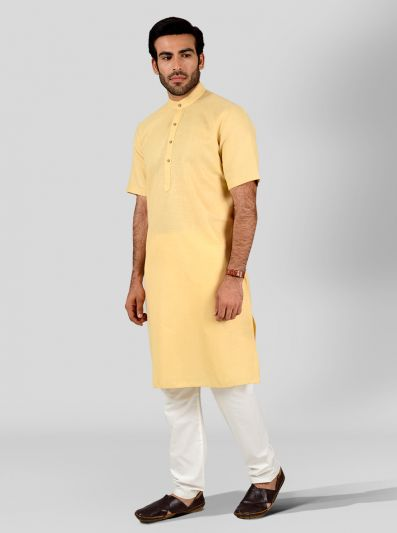 Light Yellow Self Textured Regular Fit Modi Kurta | JadeBlue