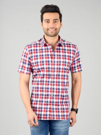 Red & Blue Checked Slim Fit Casual Shirt | JB Sport
