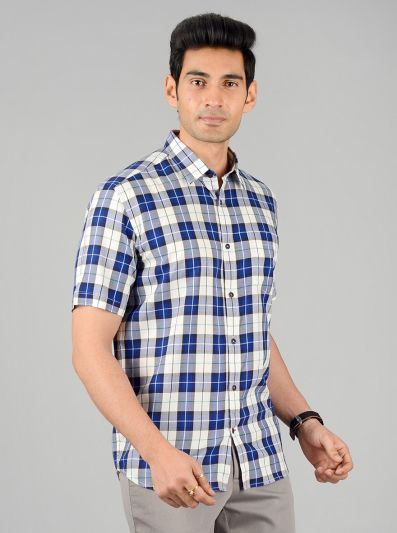 White & Blue Checked Slim Fit Casual Shirt | JB Sport